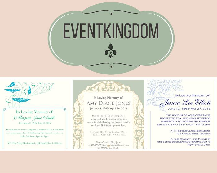 Funeral Reception Invitation: Event Kingdom  Invitation For Funeral
