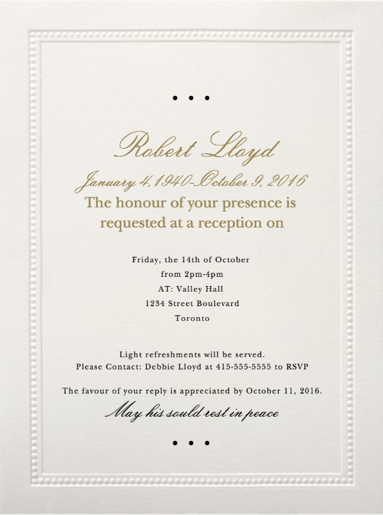 Funeral Reception Invitation Example 1