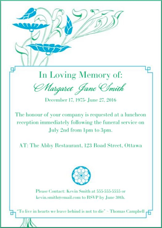 Funeral Reception Invitation Example 2  Funeral Announcement Sample