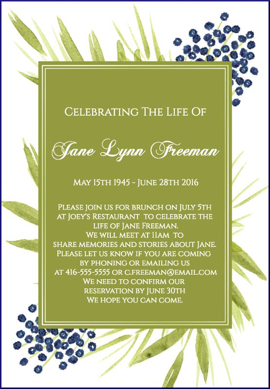 Funeral Reception Invitation Example 3