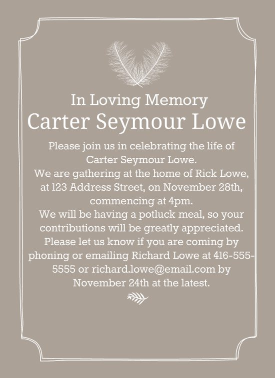 Best Funeral Reception Invitations  Love Lives On