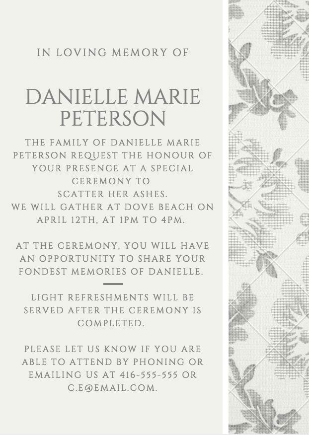 Funeral Reception Invitation Example 6  Funeral Announcements Template