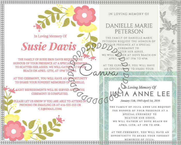 Canva Funeral Reception Invitation