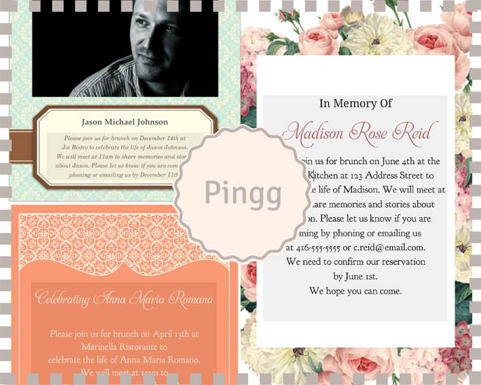 Funeral Reception Invitation: Pingg  Invitation For Funeral