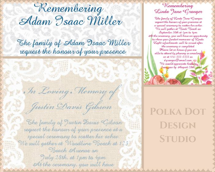 Polka Dot Design: Funeral Reception Invitation