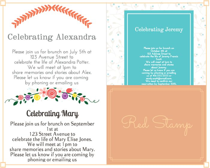11) Red Stamp Funeral Reception Invitation: Red Stamp