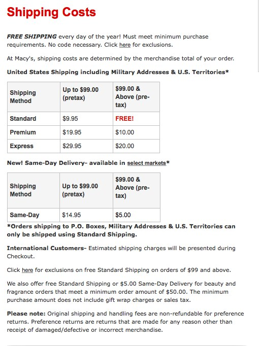 Macy's Shipping Costs