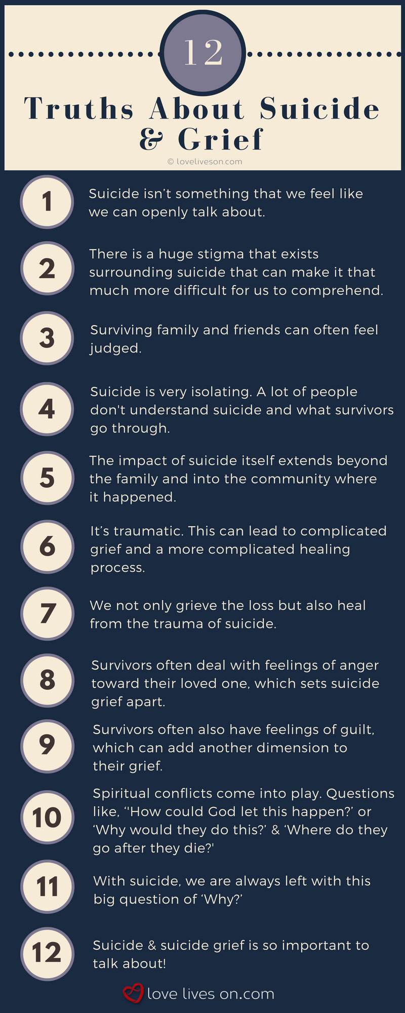 [Infographic] 12 Truths About Suicide Grief