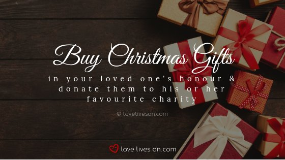 remembering loved ones at christmas with gift donations to his or her favourite charity