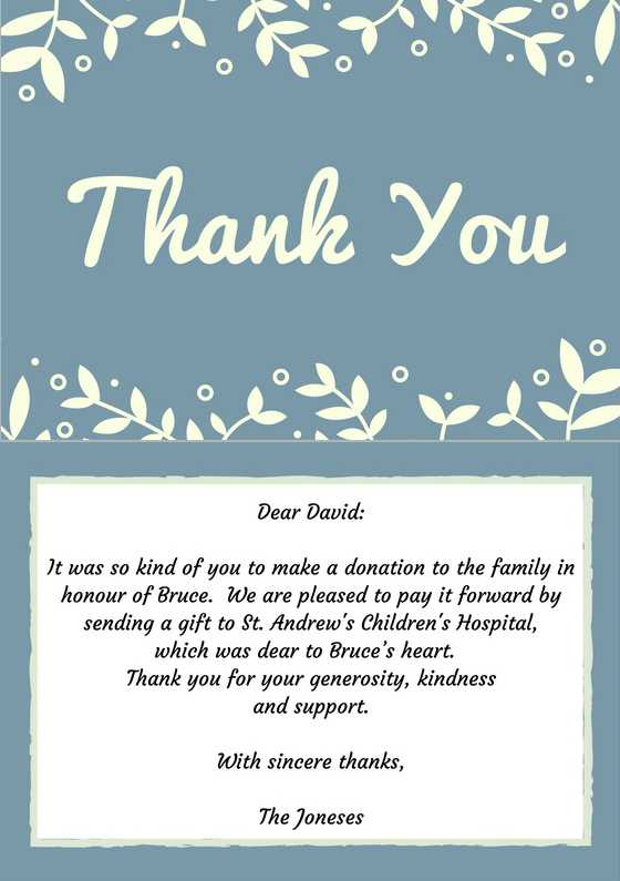 Sample Funeral Thank You Note For Money