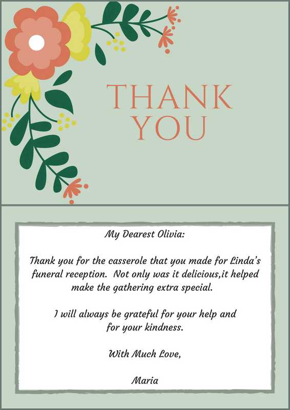 Sample Thank You Note For Funeral Food