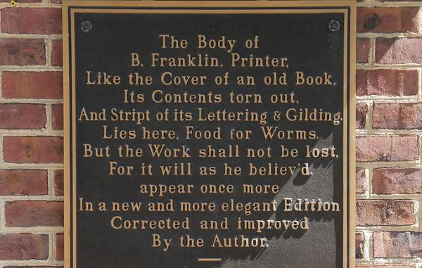 famous epitaphs: Benjamin Franklin