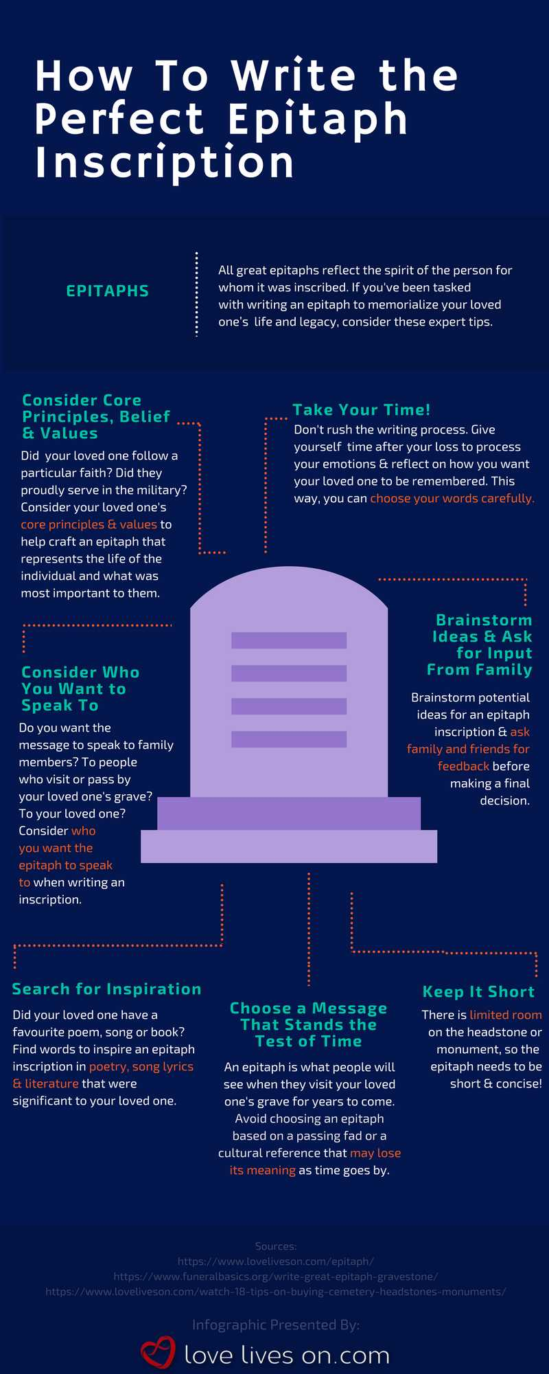 Tips for How to Write Epitaphs Infographic