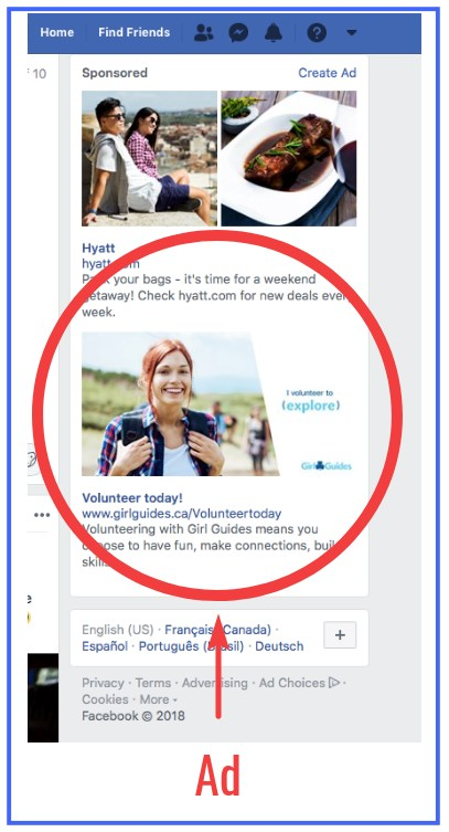 example of sponsored advertisement on Facebook
