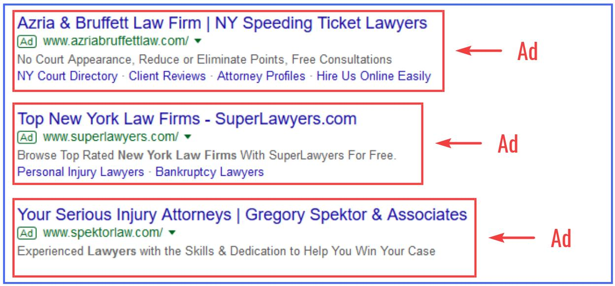 Examples of Google Ads for Law Firms