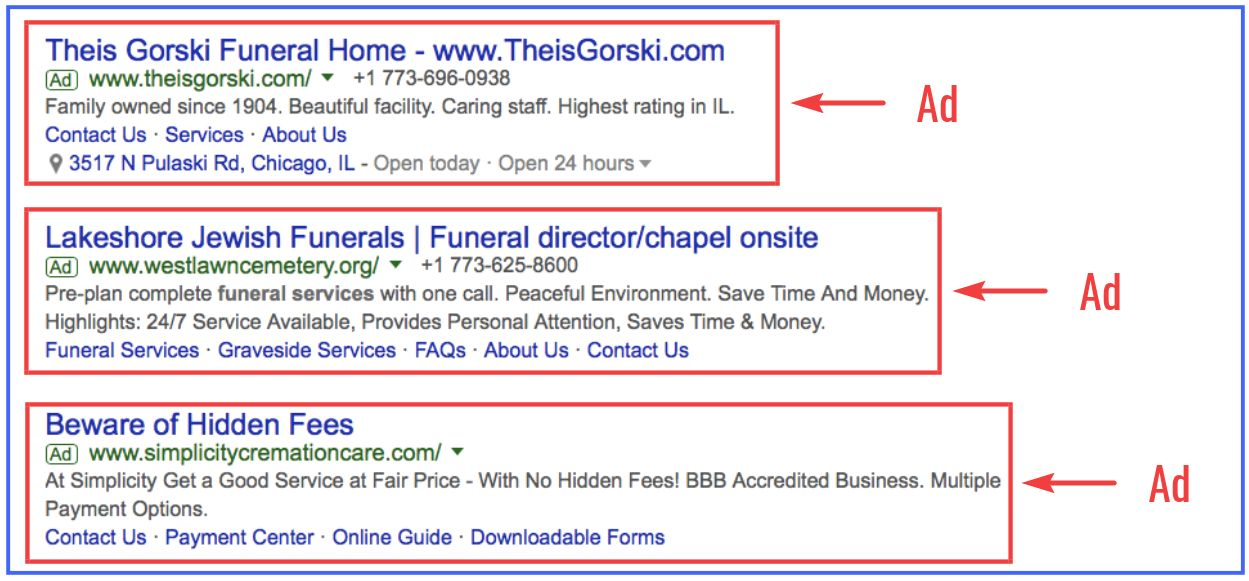 examples of Google Ads for funeral homes