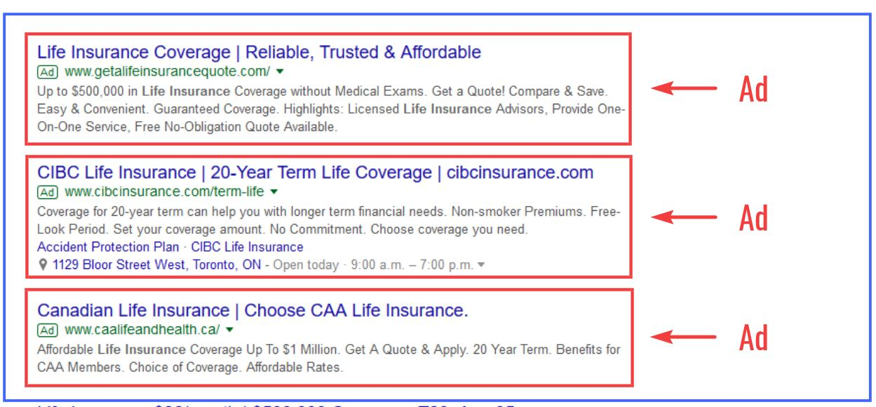 Examples of Google Ads for Life Insurance
