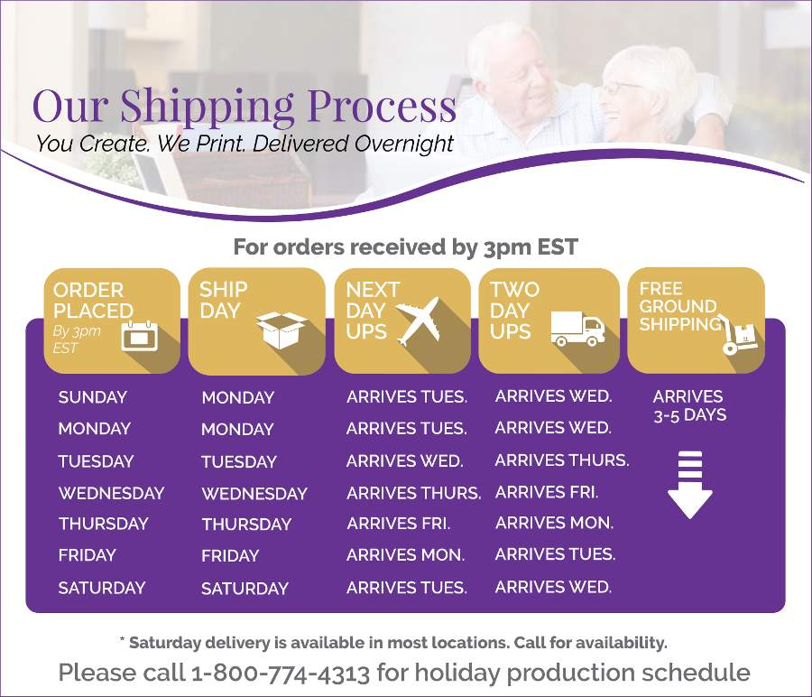 Funeral Prints Memorial Service Program Shipping Chart