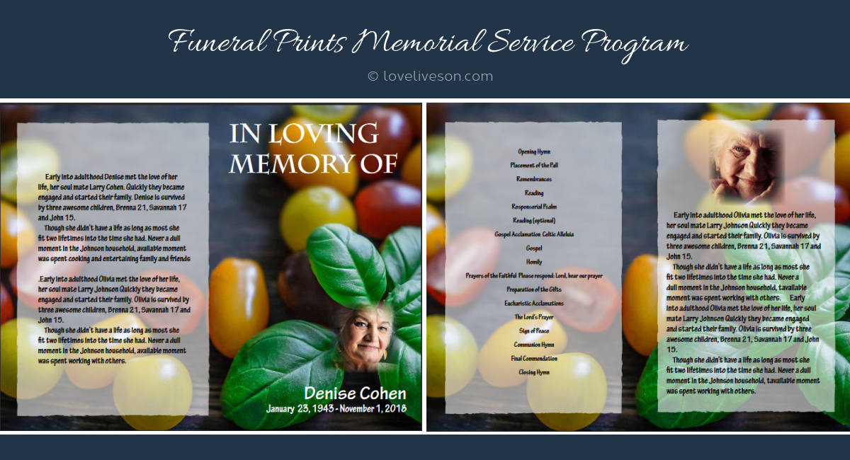 Memorial Service Ideas Cooking Theme Love Lives On