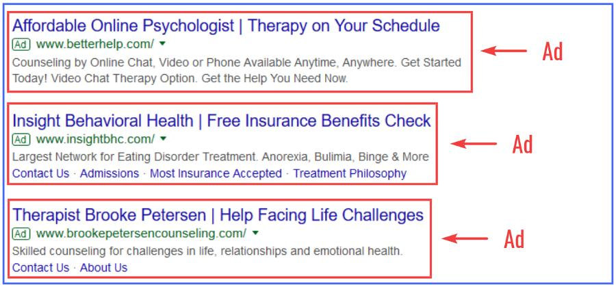 Examples of Google Ads for psychologists