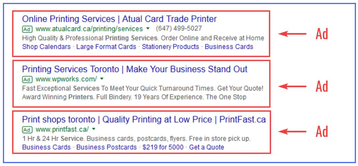 Examples of Google Ads for Printing Services
