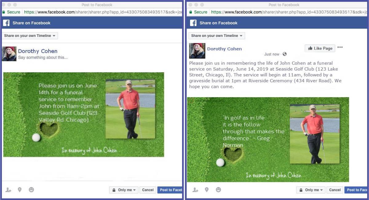 Funeral Invitations Social Media
