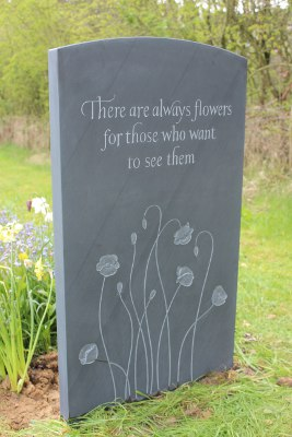 Headstone Design in Slate with Flowers