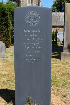 Headstone Design in Slate with Delicate Carving in Sunken Relief