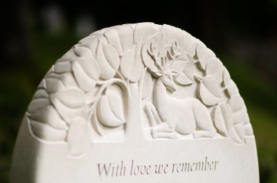 Headstone Design in Portland Limestone with a Delicate Carving of a Stag