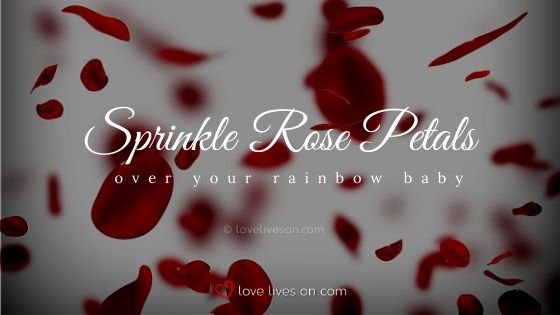 Sprinkle rose petals over your rainbow baby