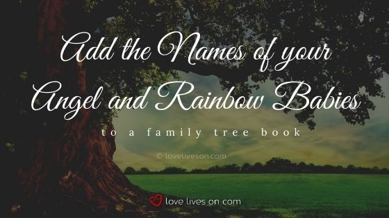 Add the names of your angel baby and rainbow baby to a family tree book